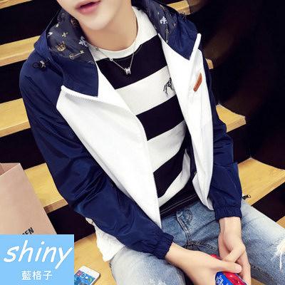【Y126】shiny藍格子-日系基調.春秋裝撞色拼接薄款連帽外套