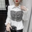 限時特價 喇叭袖襯衫女設計感小眾秋季新款修身顯瘦洋氣拼接假兩件上衣