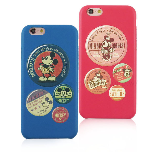 【Disney】迪士尼iPhone6 / 6S仿舊復古皮革4.7保護殼-復古徽章米奇.米妮