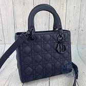 BRAND楓月 Christian Dior 迪奧 經典款 深藍色 藤格紋 Lady dior 5*5 新版手提 肩背包