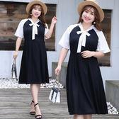 中大尺碼~V領蝴蝶結短袖雪紡連衣裙XL~4XL)