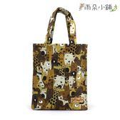 手提袋 包包 防水包 雨朵小舖 M099-496 無拉鍊手提袋-黃鏡像動物展10098 funbaobao