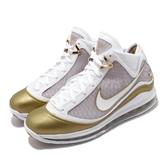 Nike 籃球鞋 LeBron VII QS China Moon 白 金 男鞋 7代 復刻 氣墊 詹姆斯 【ACS】 CU5646-100