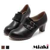 踝靴雙扣時尚粗跟牛津圓頭短靴 (MIT)