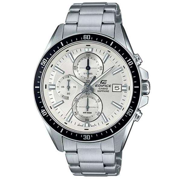 【CASIO】 EDIFICE三眼三針藍寶石鏡面不鏽鋼休閒錶-白面(EFR-S565D-7A)