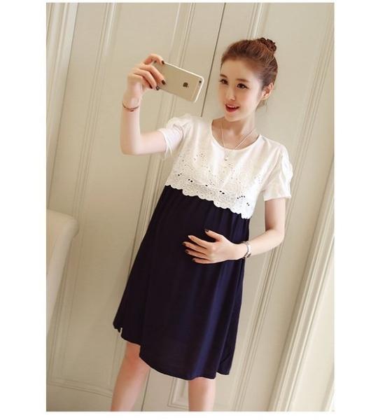 漂亮小媽咪 韓系優雅洋裝 【D9910】 布 蕾絲短袖洋裝 孕婦裝 蝴蝶結 包袖 孕婦洋裝