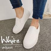【富發牌】波蘿菱格紋懶人鞋-黑/白 1BE68