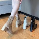 馬丁靴女方頭粗跟高跟鞋百搭休閒顯瘦短靴【橘社小鎮】