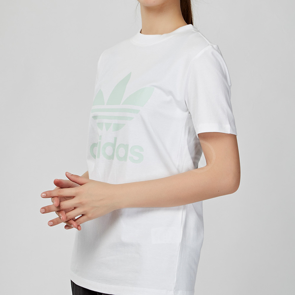Adidas Originals Trefoil 女款 白綠色 經點 三葉草 短袖 上衣 FJ9452