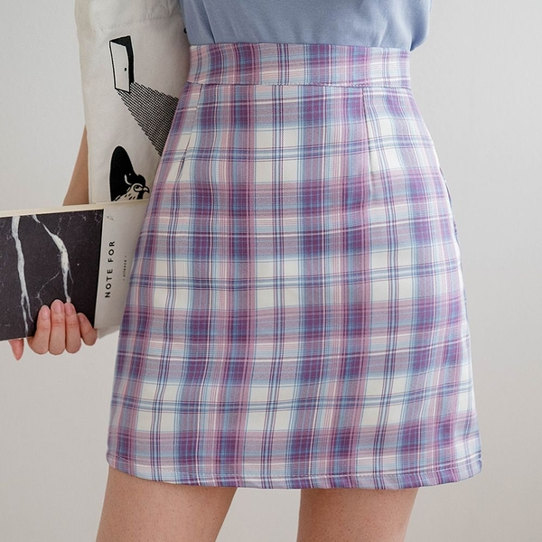 MIUSTAR 經典款!後拉鍊格紋短褲裙(共2色,S-L)【NJ1674】預購