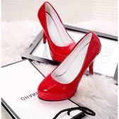高跟鞋 cM防水臺女單鞋2大碼套腳高跟鞋女細粗跟韓版皮鞋紅婚鞋 Cocoa