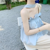 2021年夏新短款無袖T恤網紅法式鎖骨一字肩掛脖上衣女設計感小眾 喵小姐