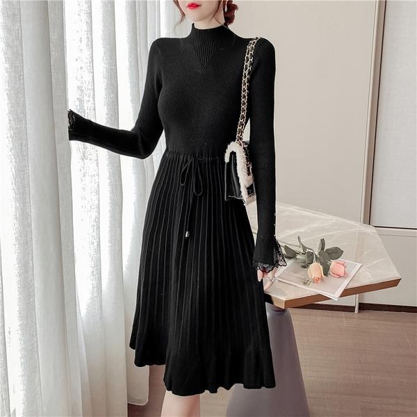 第二件4折 韓國風優雅毛衣百搭洋氣蕾絲針織長版長袖洋裝