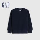 Gap男童 保暖仿羊羔絨圓領休閒上衣 656948-海軍藍