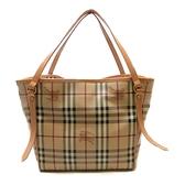 BURBERRY 巴寶莉 咖啡色PVC肩背包 Haymarket Check Shoulder Tote Bag 【二手名牌BRAND OFF】
