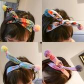 兒童發飾女童寶寶交叉發帶可調節布藝兔耳朵球發箍夏·Ifashion