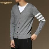 新款男士V領針織開衫韓版毛衣拼接外套男純棉修身上衣秋季潮流 金曼麗莎