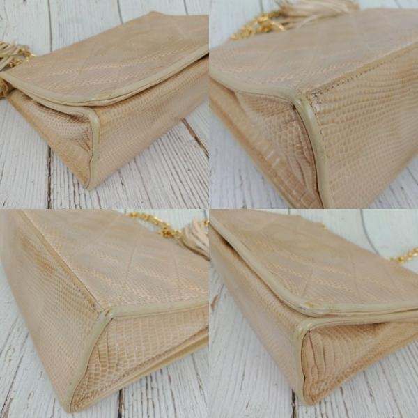BRAND楓月 CHANEL 香奈兒 1開 裸色蜥蜴皮流蘇側背包 精品包 小包