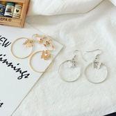 [24H 現貨快出] 時尚 流行 蝴蝶 圓圈 幾何 耳環 耳夾 無耳洞 耳環 飾品