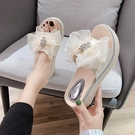 增高拖鞋 拖鞋女夏外穿新款時尚厚底楔形鬆糕厚底增高跟一字涼拖-Ballet朵朵
