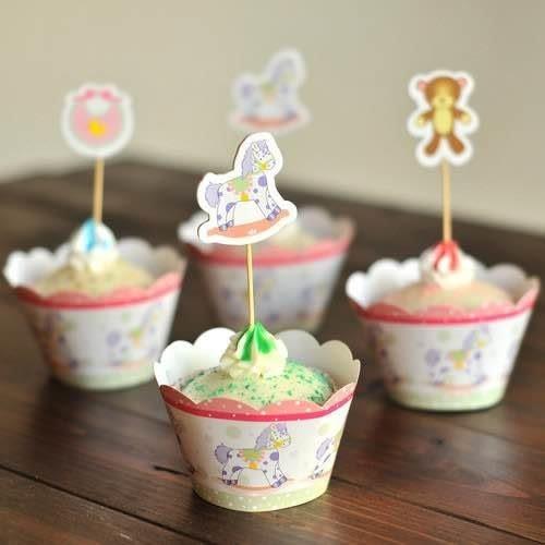 【發現。好貨】烘焙包裝紙杯蛋糕 蛋糕裝飾 插牌圍邊+插牌裝飾 【滿月 熊熊木馬圍兜兜】