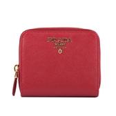 【PRADA】浮雕Logoㄇ型拉鍊零錢袋短夾(紅色) 1ML042 QWA F068Z