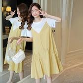 漂亮小媽咪 實拍 韓系 假二件 短袖 洋裝【D5207】假兩件 短袖 背心裙 魚尾裙 魚尾洋裝 連衣裙