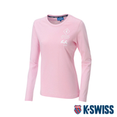 K-SWISS Cotton 66 Logo Tee印花長袖T恤-女-粉紅