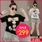 卡通老鼠印花短袖T恤 S-3XL O-k...