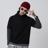長袖T恤-連帽時尚休閒簡約假兩件男上衣2色73pr38【巴黎精品】