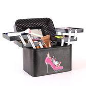 便攜大容量專業手提四開化妝箱 多功能化妝品收納箱包《小師妹》jk147