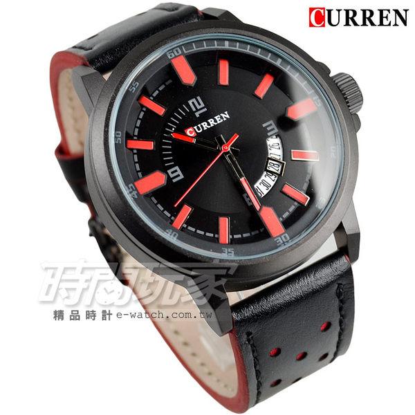 CURREN 扇形日期視窗 時尚潮流 男錶 大錶面 大錶盤 飛行錶 數字錶 石英錶 卡瑞恩 紅x黑 CU8228紅