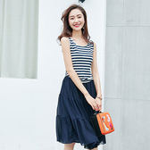 ★韓美姬★中大尺碼~時尚條紋拼接短袖洋裝(XL~4XL)