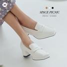 鞋子 Space Picnic 正韓-素色方頭低跟皮鞋(預購)【K21053000】