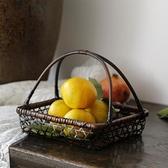 復古竹編果籃竹制品方形茶室家用茶點籃手工編織收納