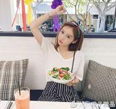 t恤女短袖2019新款韓版夏純色寬鬆閨蜜打底衫白色V領半袖ins上衣      橙子精品