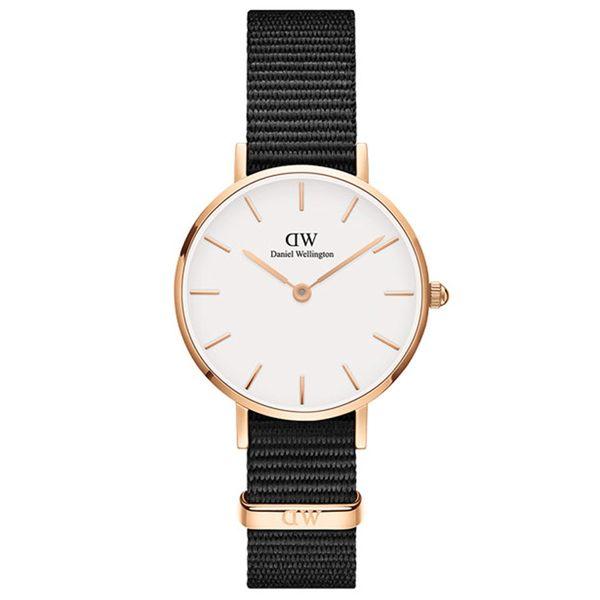 Daniel Wellington DW 手錶 28mm玫瑰金框 Classic Petite 寂靜黑織紋手錶