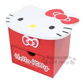 〔小禮堂〕Hello Kitty 造型木製雙抽收納盒附鏡《紅.大臉》抽屜盒.化妝鏡台 4713052-38499
