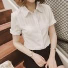 短袖襯衫短袖襯衫女韓版夏季雪紡白襯衣修身...
