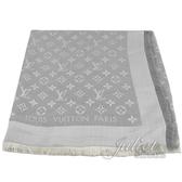 Louis Vuitton LV M70804 Monogram Denim 經典花紋羊毛絲綢披肩圍巾.珍珠灰 全新 預購【茱麗葉精品】