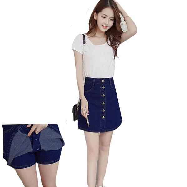 排釦多口袋A版牛仔褲裙
