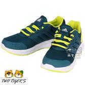 ADIDAS galaxy 4k 深藍綠/螢光綠 透氣網布 鞋帶 運動鞋 大童 NO.R1968