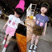 兒童上衣 2019夏裝新款韓版女童時尚飲料杯印花蝙蝠衫T恤兒童打底衫0963