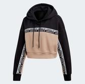 X-adidas CROPPED HOODIE 女裝 長袖 短版 連帽 休閒 拼接 棉質 黑 粉 EC0766