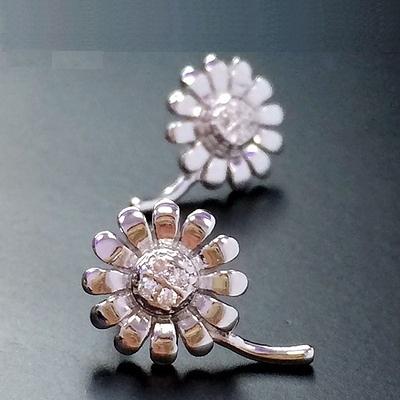 耳環 925純銀-迷人花朵生日情人節禮物女耳針73gq8【時尚巴黎】