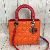 BRAND楓月 Christian Dior 迪奧 LADY DIOR 橘紅拼 小羊皮手提包 側背包 單肩包