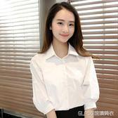 襯衫 寬鬆工作服襯衫職業短袖正裝白色女襯衣中袖上衣韓版   琉璃美衣