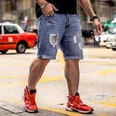 加大加肥大尺碼男裝大號牛仔短褲磨破個性厚款寬鬆夏季五分褲男S-8XL