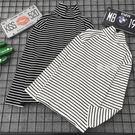 (两件装)春季新款長袖打底衫女裝韓版寬鬆T恤百搭半高領黑白條紋上衣 鹿角巷