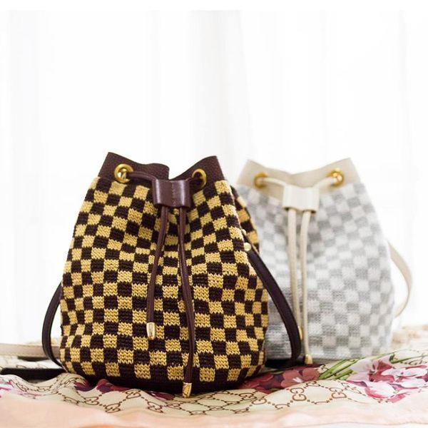 DIY包包 家棋盤格皮繩束口包包手工diy鉤針編織桶包毛線團材料包麠